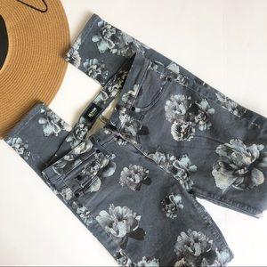 HUDSON MID RISE nico super skinny floral pant 27